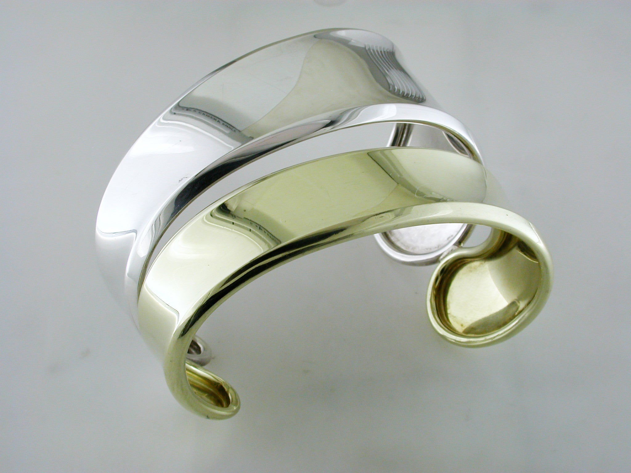 Robert Lee Morris Freeform Cuff Bracelet Sterling Silver & 18K Yellow Gold Pre-owned Estate