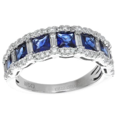 Princess Sapphire & Diamond Scalloped Stackable Ring 18K White Gold