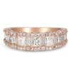 Princess Diamond & Baguette Scalloped Stackable Ring 18K Rose Gold