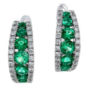 Gregg Ruth Emerald & Diamond Huggy Hoop Earrings 18K White Gold