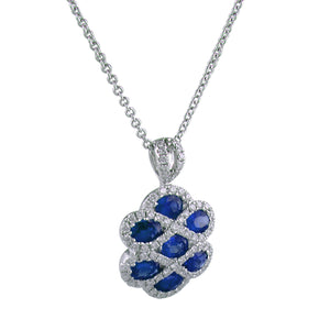 Gregg Ruth Sapphire & Diamond Criss Cross Pendant Necklace 18K White Gold