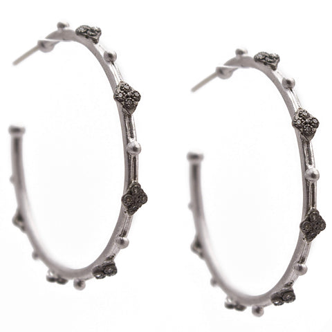 Armenta Cravelli Sterling Silver Hoop Earrings with Champagne Diamonds 35mm