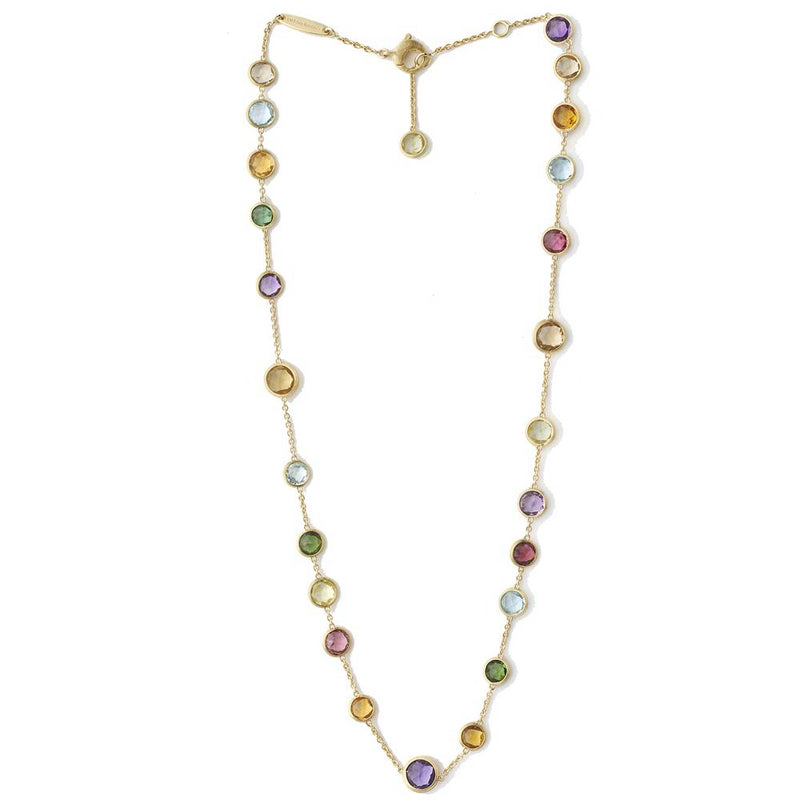 Marco Bicego Jaipur Mixed Color Gems Single Strand Yellow Gold Necklace 18