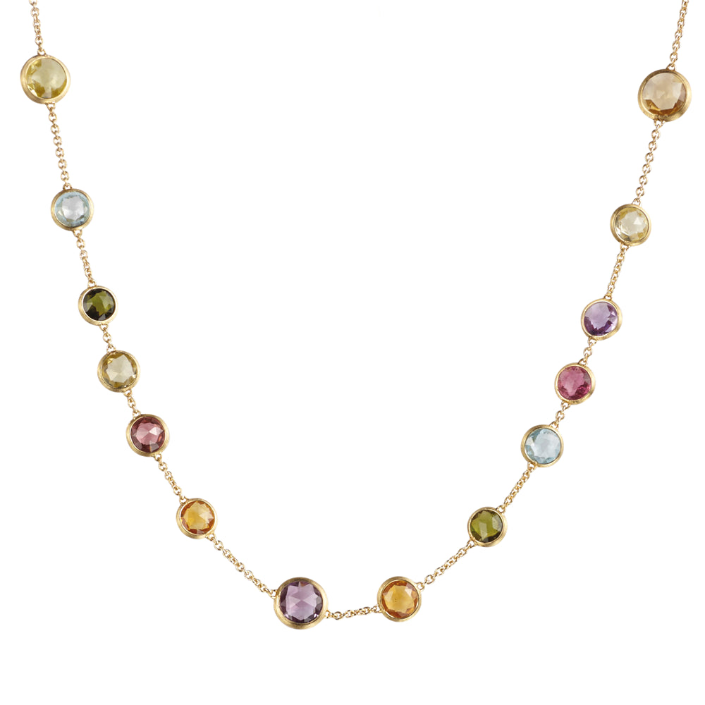 "Marco Bicego Jaipur Mixed Color Gems Single Strand Yellow Gold Necklace 18"" CB1304"