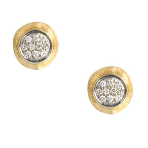Marco Bicego 18 karat yellow gold Delicati studs with pave diamonds OB1377 B YW