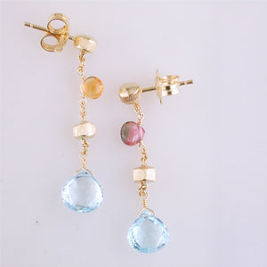 Marco Bicego Paradise Single Drop Color Gemstone Yellow Gold Earrings Blue Topaz Amethyst Citrine OB1430
