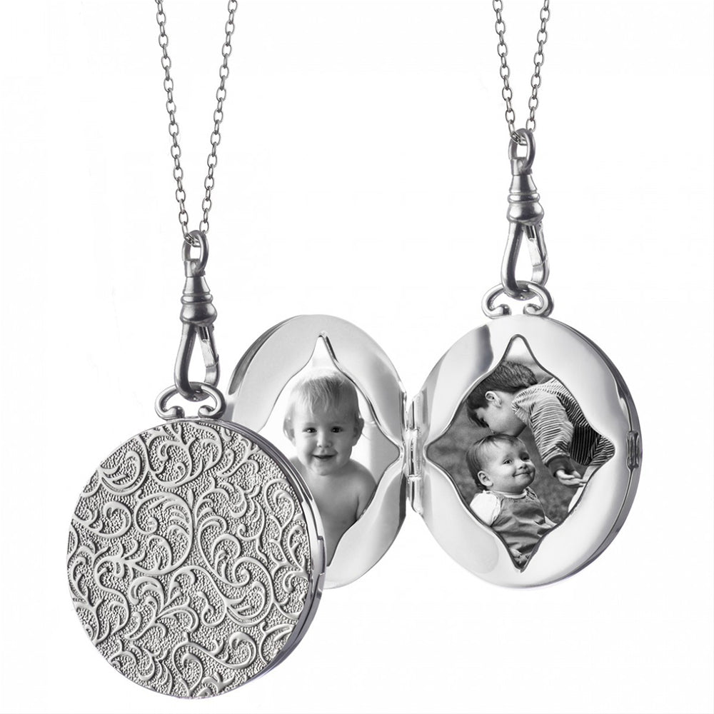 "Monica Rich Kosann Round Vine Locket Sterling Silver 1.5"" Necklace Pendant Locket for Two Photos, 26"" Chain"