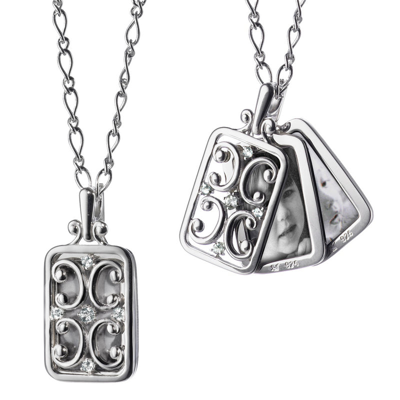 Monica Rich Kosann Rectangular Gate Locket with Sapphires Sterling Silver Necklace For Three photos 18