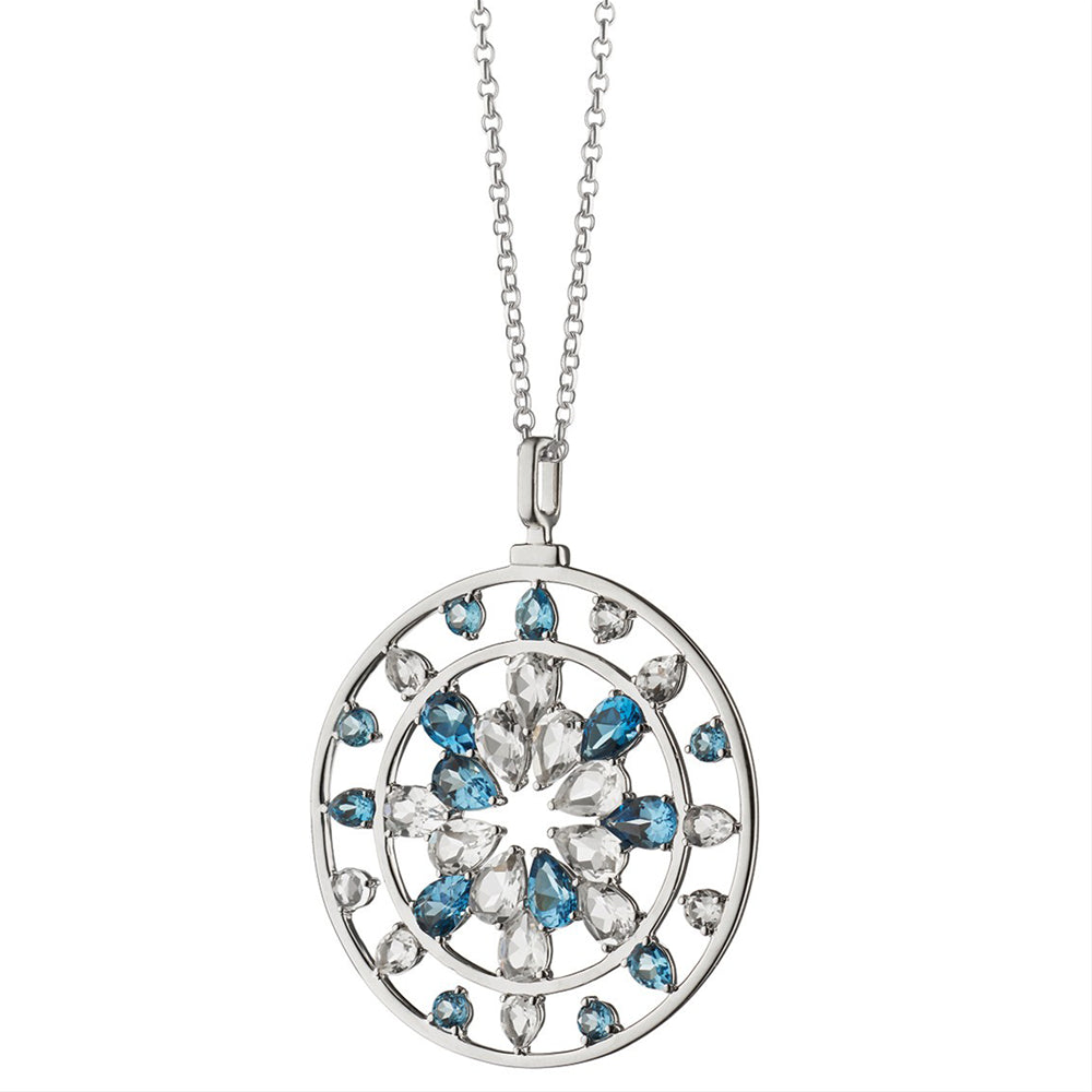 "Monica Rich Kosann ""Change"" London Blue Topaz & Rock Crystal Kaleidoscope Pendant Necklace Sterling Silver"