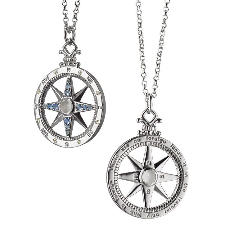Monica Rich Kosann Global Compass Travel Charm Necklace Pendant in Silver with Sapphires