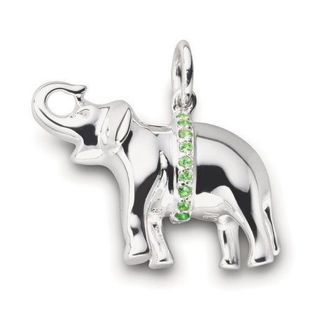"Monica Rich Kosann ""Luck"" Elephant Charm Sterling Silver with Green Tsavorite"