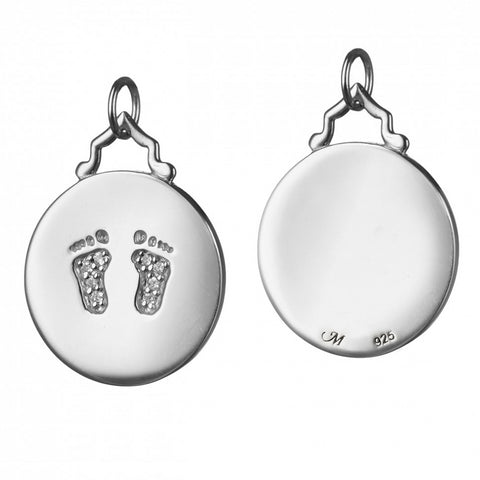 "Monica Rich Kosann Sterling Silver 3/4"" Charm White Sapphire ""baby feet"" Footprints"