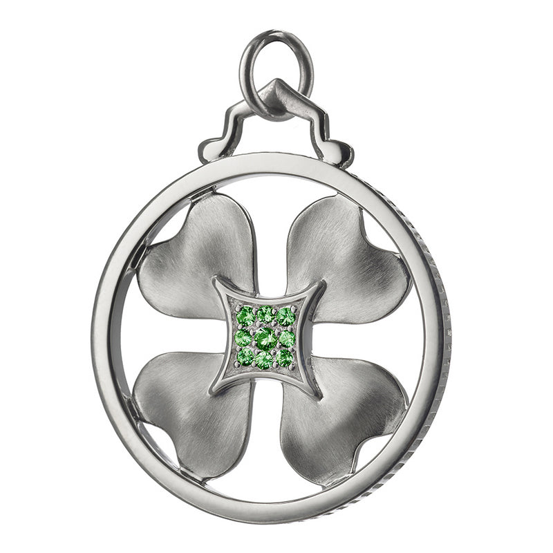 Monica Rich Kosann Sterling Silver Lucky Clover Charm Pendant with Green Tsavorite