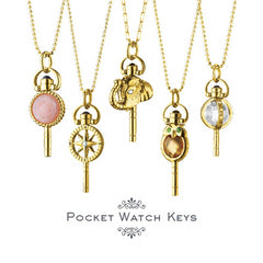 "Monica Rich Kosann Mini ""Luck"" Elephant Key Necklace Sterling Silver Pocket Watch Key Necklace on 30"" chain 47345-30"