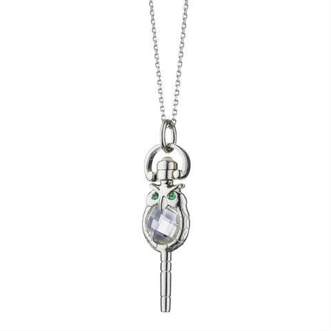 "Monica Rich Kosann Mini ""Wisdom"" Owl Necklace, Rock Crystal Sterling Silver Pocket Watch Key Necklace on 17"" Chain 47347-17"