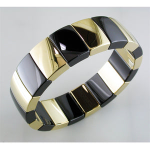 Roberto Demeglio Aura 1 Row Large Alternate Bracelet in Yellow Goldplated Black Polished Ceramic