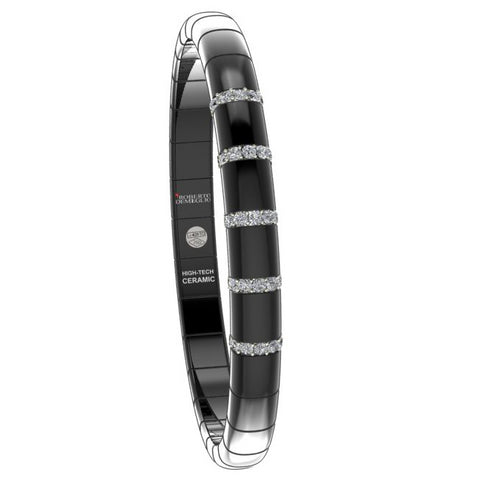 Roberto Demeglio Pura Black Ceramic Elastic Bracelet with 5 Diamond Sections