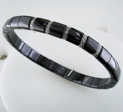Roberto Demeglio Pura Black Ceramic Elastic Bracelet with 5 Diamond Sections Glossy