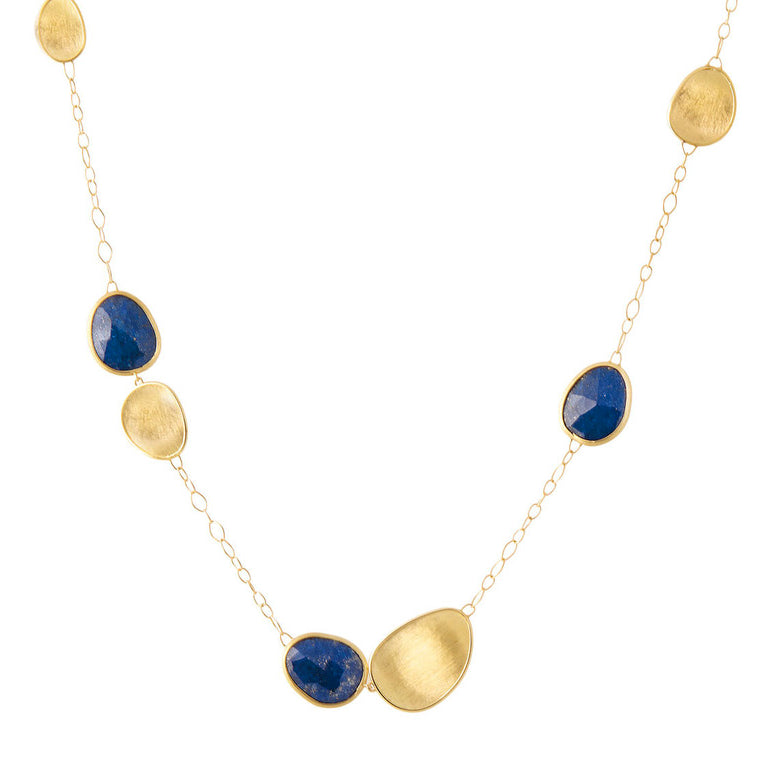 Marco Bicego Lunaria 18K Yellow Gold & Blue Lapis Short Chain Necklace CB1981 LPY02
