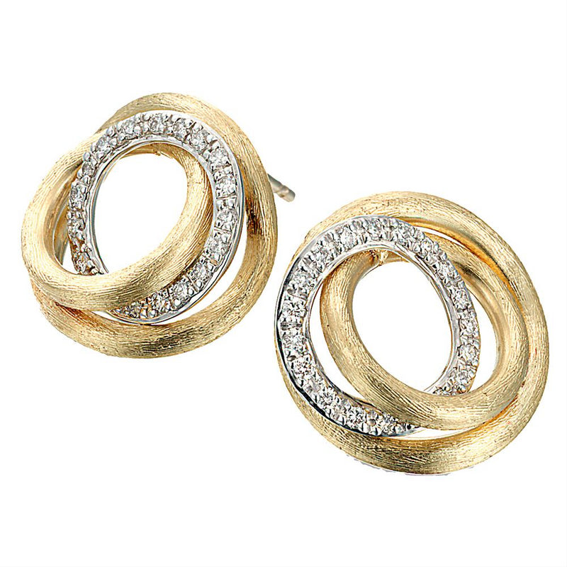 Marco Bicego Jaipur Link Yellow Gold Diamond Circle Stud Earrings OB1007 BYW