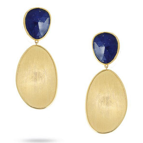 Marco Bicego Lunaria 18K Yellow Gold Blue Lapis Top Dangle Earrings OB1428 LPY02
