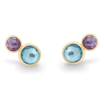 Marco Bicego Jaipur 18K Yellow Gold Two Stone Stud Earrings with Topaz and Amethyst OB1518 MIX52 Y02