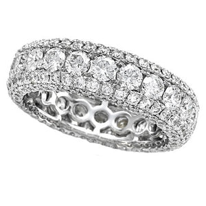 Five Row Diamond Eternity Anniversary Band Ring Prong Set 18K White Gold 3.40 carats