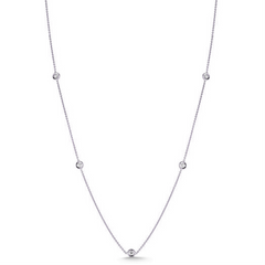 Roberto Coin 18 Karat White Gold Diamond By The Yard 5 Station Necklace