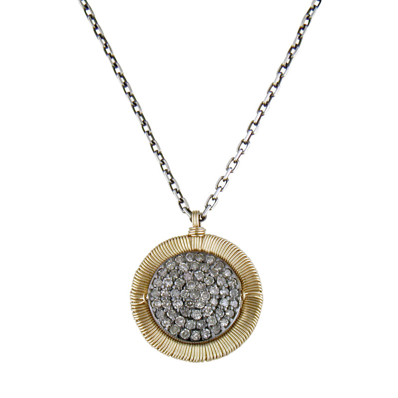 Dana Kellin Grey Diamond Yellow Gold Spun Wire Round Necklace Pendant