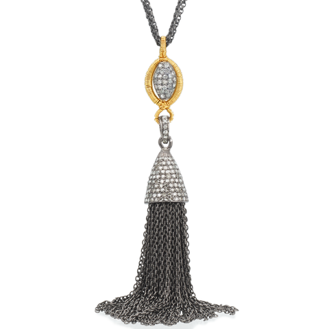 Dana Kellin Fine Long Tassel Pendant Necklace 14K Yellow Gold and Oxidized Silver
