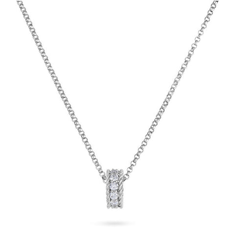 Small rondel charm necklace by Roberto Coin with diamonds