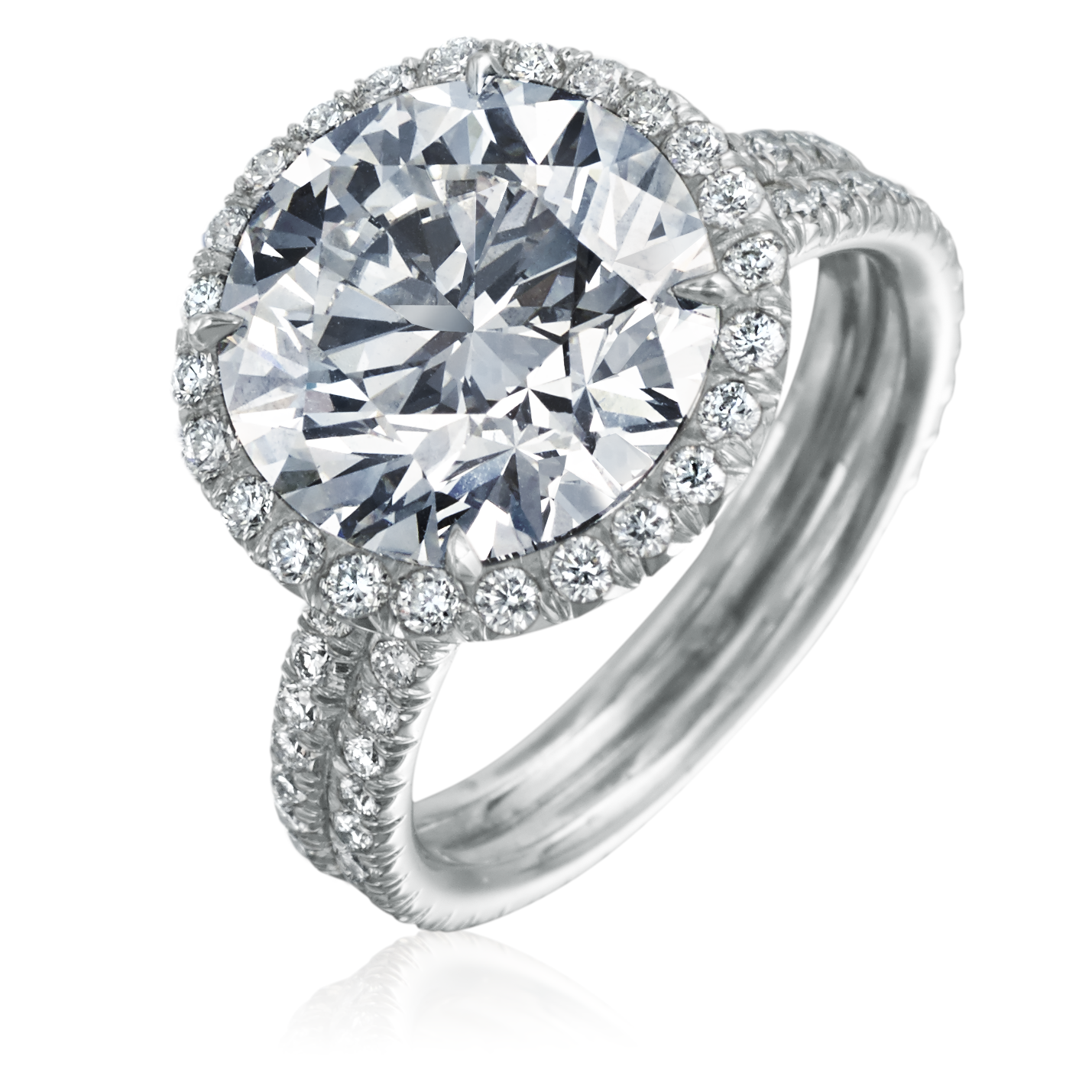Round 5.45 Carat Ideal Cut Diamond Platinum Engagement Ring with Diamond Halo