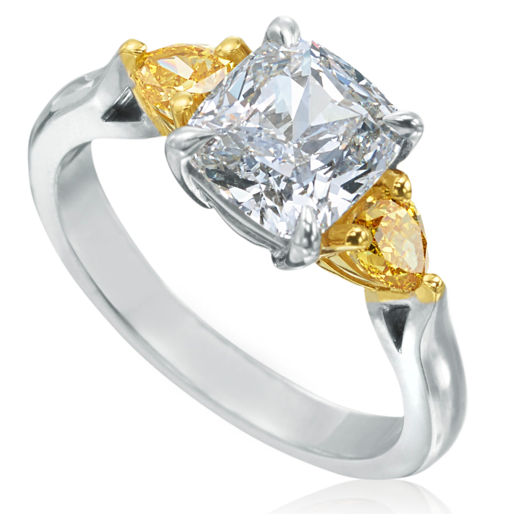 Cushion Shaped Diamond 18K Gold Engagement Ring with Pear Shaped Yellow Diamonds