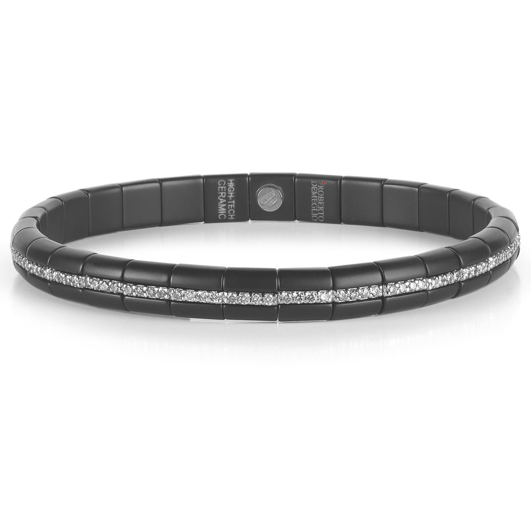 Roberto Demeglio Pura Matte Black Ceramic Elastic Bracelet Eternity Single Row Diamonds