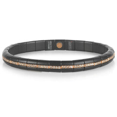 Roberto Demeglio Pura Matte Black Ceramic Elastic Bracelet Eternity Single Row Champagne Diamonds in Rose Gold