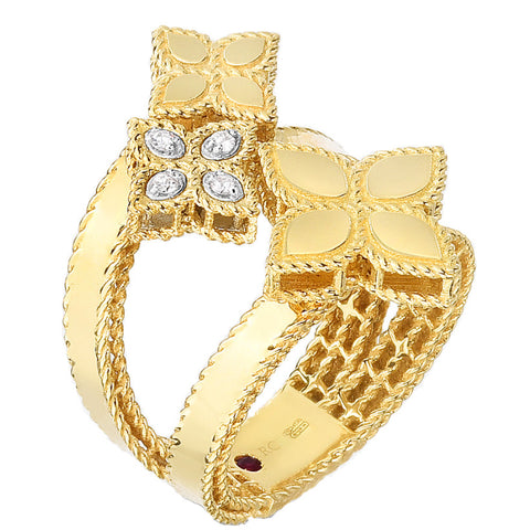 Roberto Coin 18k Yellow Gold Double Bypass Princess Flower Ring With Diamonds