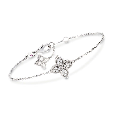 "Roberto Coin ""Princess"" .17 ct. Diamond Flower Bracelet 18kt White Gold"