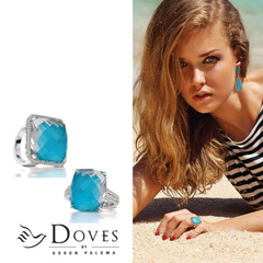 "Doves ""St. Barths"" Blue Turquoise & Diamond Yellow Gold Square Ring"