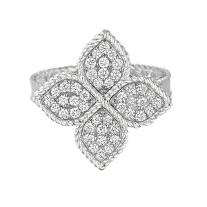 princess flower ring by Roberto Coin with diamonds