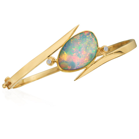 Oval Freeform Ethiopian Opal & Diamond 22K Yellow Gold Bangle Bracelet