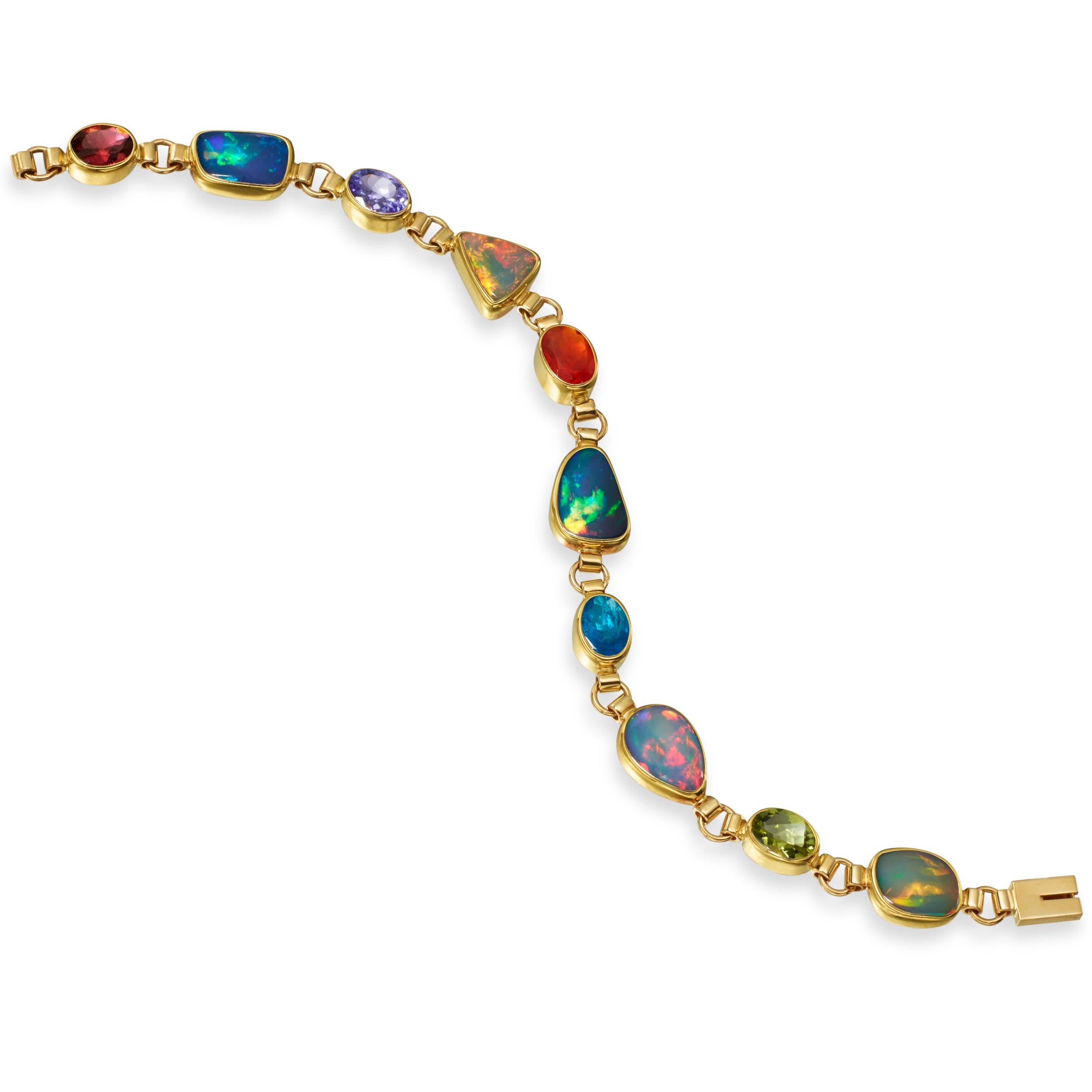 Ethiopian Freeform Opal, Blue Topaz, Tanzanite, Pink Tourmaline, Mexican Fire Opal, 14K Yellow Gold Bracelet