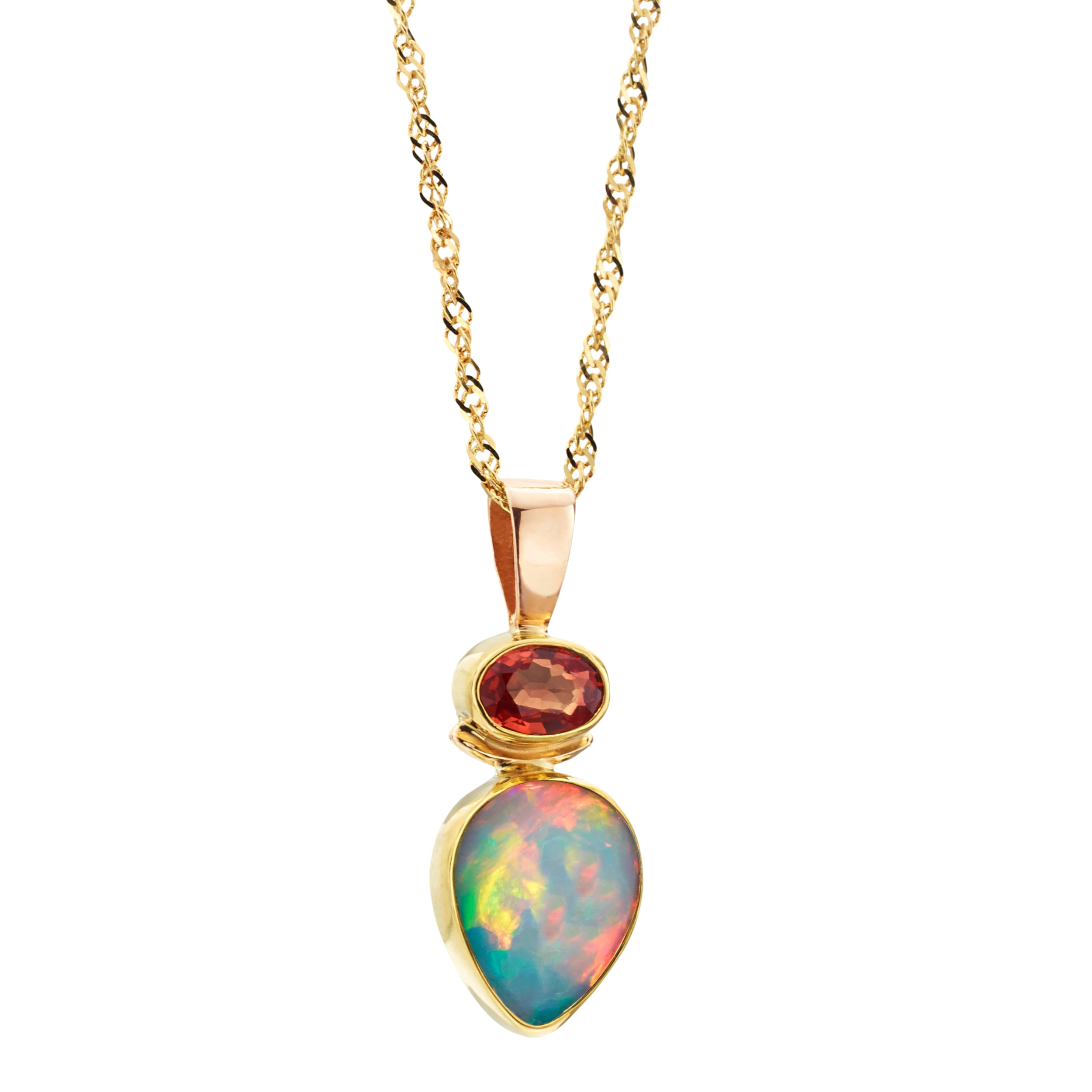 Ethiopian Opal Teardrop Pendant Necklace in 14K Yellow Gold with Garnet