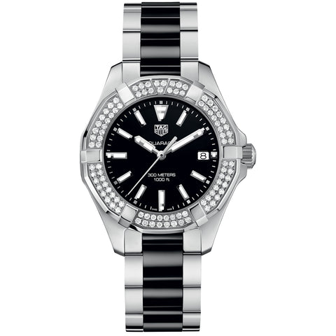 Tag Heuer Ladies 300M Steel & Ceramic 2-row Diamond Bezel Aquaracer Quartz Watch 35MM WAY131E.BA0913