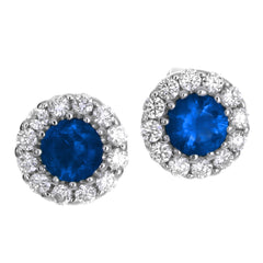 Gregg Ruth Sapphire & Diamond Round Halo Stud Earrings 18K White Gold