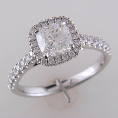 Firecushion 1 Carat Cushion Diamond Halo Platinum Engagement Ring