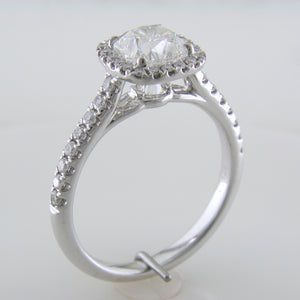 Point of Love Square Cushion Forevermark 1 Carat Diamond Halo Engagement Ring