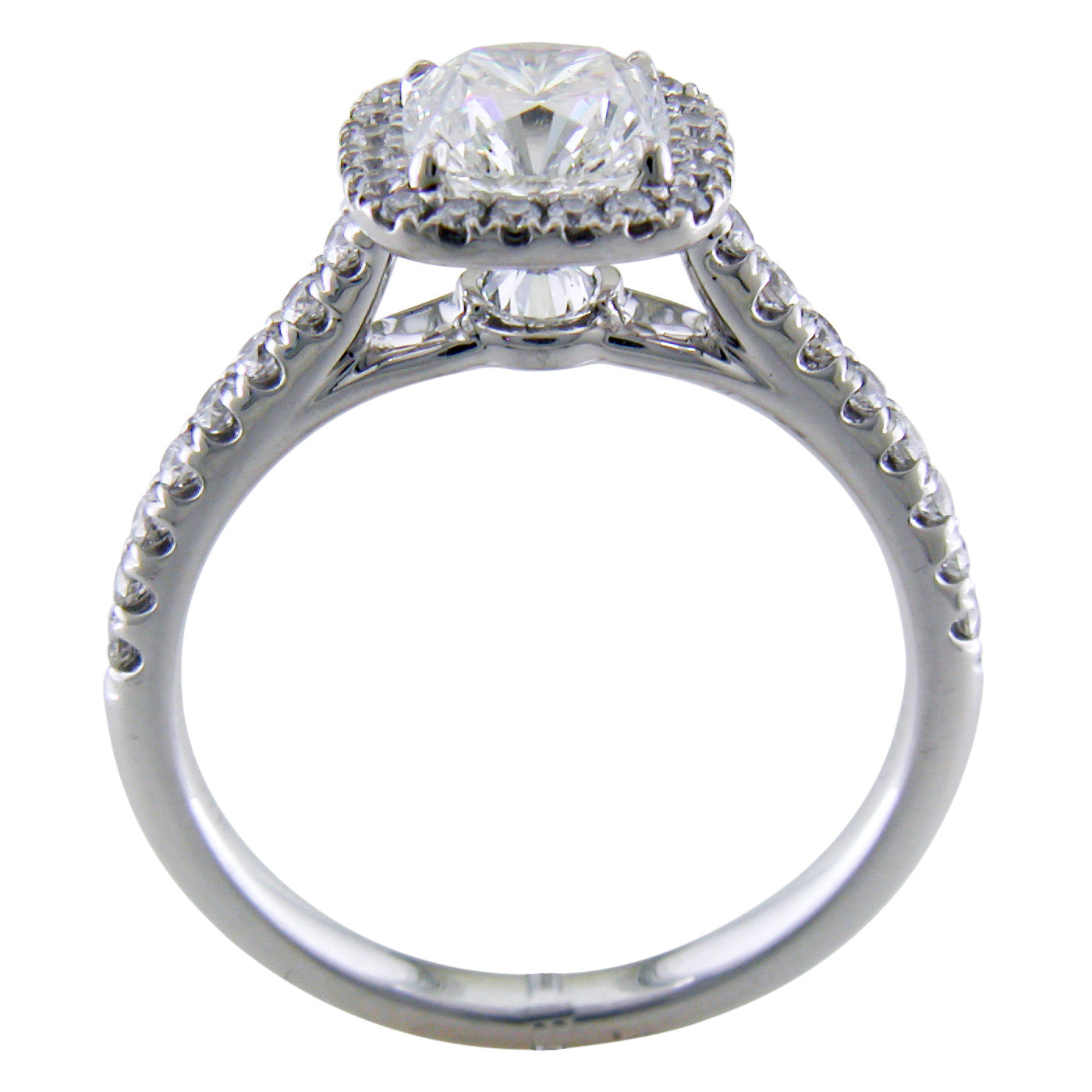 Point of Love Square Cushion Forevermark 1 Carat Diamond Halo Engagement Ring platinum