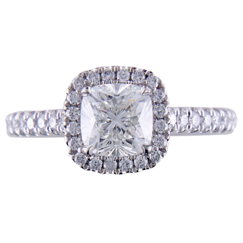Point of Love Square Cushion Forevermark 1 Carat Diamond Halo Engagement Ring top