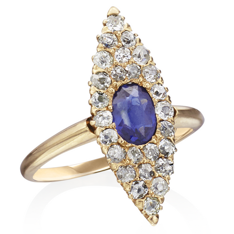 Estate Antique Oval Sapphire & Single Cut Diamond Marquise Shaped Ring in 14K Yellow Gold