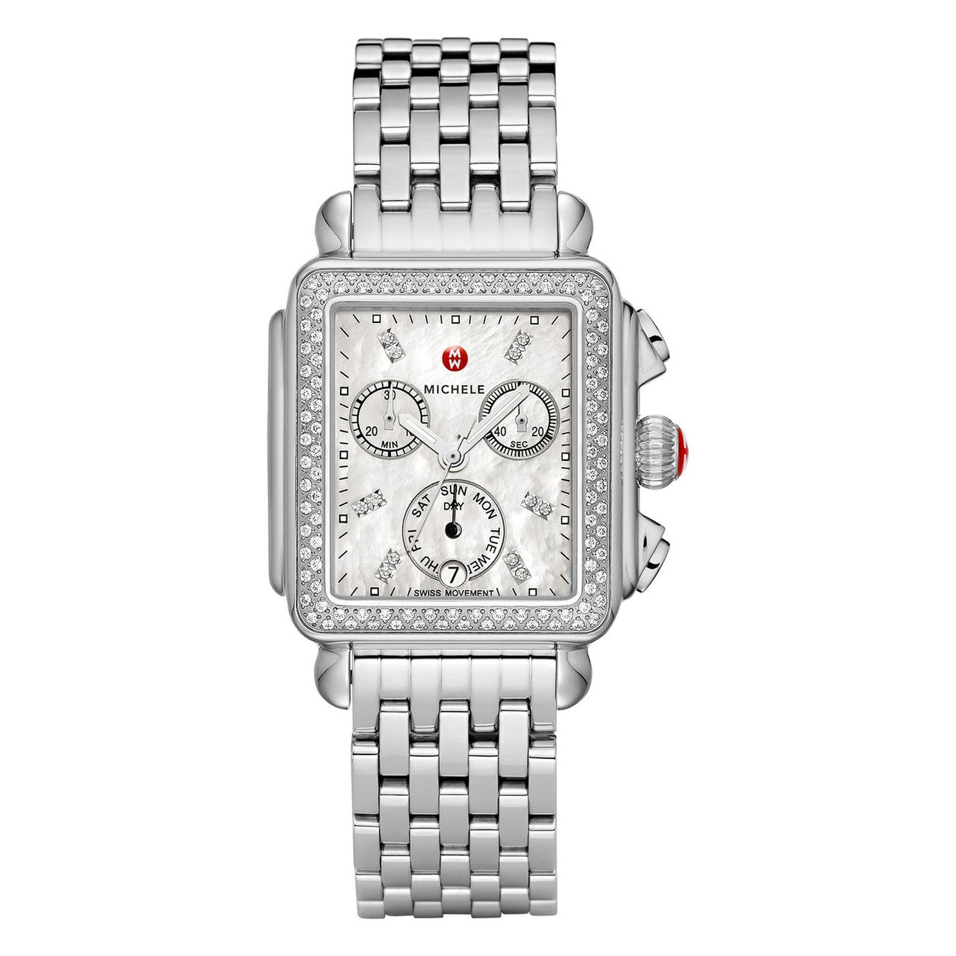 b46ea1915 Michele Signature Deco Mother of Pearl Diamond Markers and Bezel Watch |  Nagi Jewelers